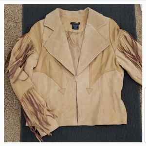 Boston Proper Jackets & Coats - Boston Proper Leather/Suede Fringe Jacket Size 14